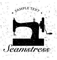 vintage emblem of retro sewing machine vector image