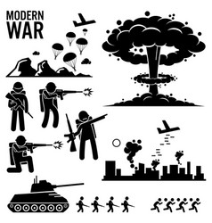 War modern warfare nuclear bomb soldier tank vector