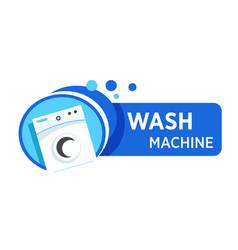 washing machine logo in blue frame with water vector image