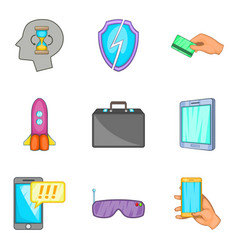 Web developer icons set cartoon style vector