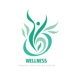 Wellness people logo design abstract vector