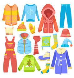 Winter clothes warm clothing sweater or vector