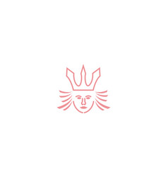 Woman or girl head queen with crown line logo vector
