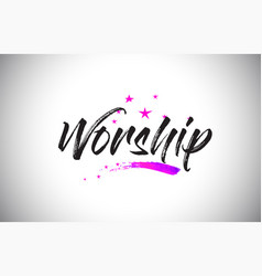 Worship handwritten word font with vibrant violet vector