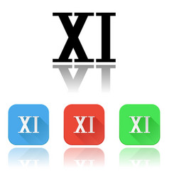Xi roman numeral icons colored set with vector