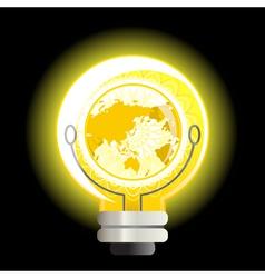yellow world light bulb vector image vector image