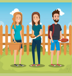 young people in picnic day scene vector image