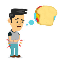 young suffering sad man is hungry thinks vector image