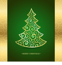 Gold christmas tree on a green background vector image vector image