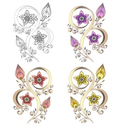 Set of Henna Paisley Mehndi Element vector image vector image
