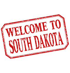 south dakota - welcome red vintage isolated label vector image