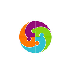 circle people puzzle logo vector image vector image