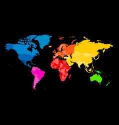 colorful map of world political map with vector image vector image
