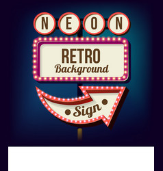 Night retro sign with lights vector image