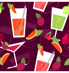 seamless pattern with different cocktails vector image vector image