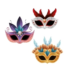 set beautiful masks carnival bright feathers vector image