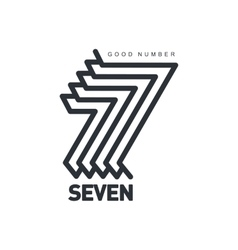 Black and white number seven logo formed by vector image vector image