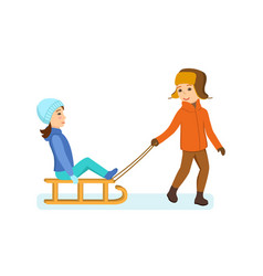 boy rolls girl on plain dressed in winter clothes vector image vector image