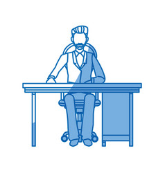 business man sitting working desk office vector image vector image