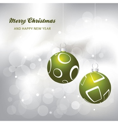 christmas card background green and silver vector image vector image