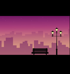 Collection of chair with street lamp landscape vector