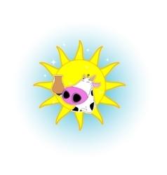 Cute cartoon cow badge vector image vector image