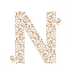 floral letter n ornament font vector image vector image