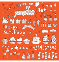 Hand drawn Birthday party elements on orange vector image vector image