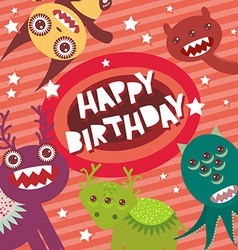 Happy birthday funny monsters party card design on vector