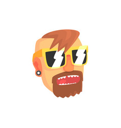 hipster man face with sunglasses cartoon character vector image