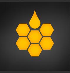honeycomb logo with honey drop vector image