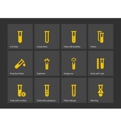 Laboratory test tube icons vector
