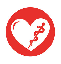 round icon heart caduceus vector image
