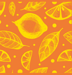 seamless background with citrus fruit and leaves vector image