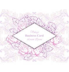 vintage business card with floral frame and vector image