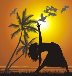 Yoga on the beach vector image vector image