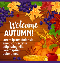 autumn or welcome fall poster of foliage vector image