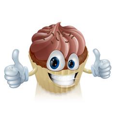 chocolate cupcake mascot vector image