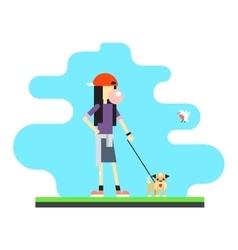 Geek Hipster Girl Lifestyle Dog Bird Sky vector image