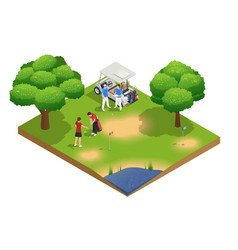 green golf course isometric top view composition vector image vector image