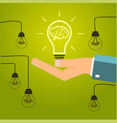 hand holding a bright light bulb concept of vector image