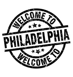 welcome to philadelphia black stamp vector image vector image