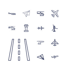 13 aviation icons vector