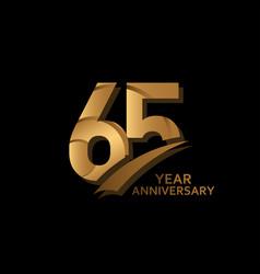 65 years gold elegant anniversary celebration vector