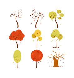 abstract dry autumn tree art design set vector image