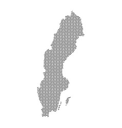 abstract sweden country silhouette of wavy black vector image