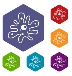 Amoeba icons set vector