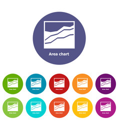 Area chart icons set color vector
