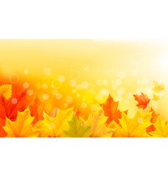 Autumn background with yellow leaves and hand vector