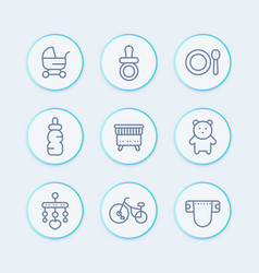 baline icons set toys crib diaper tricycle vector image